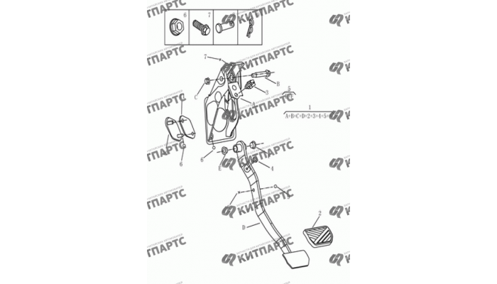 Педаль тормоза и сцепления (вариатор) Geely Emgrand (EC7)