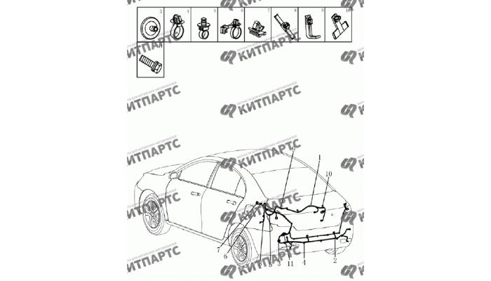 Жгут проводов задний (седан) Geely Emgrand (EC7)