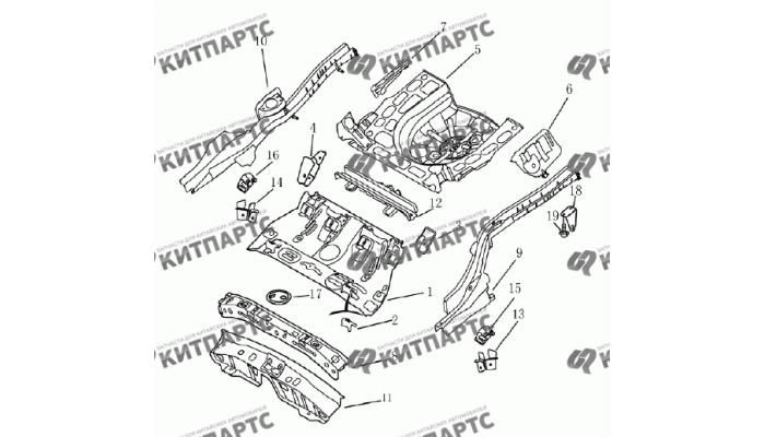 Панель пола задняя (седан) Geely Emgrand (EC7)