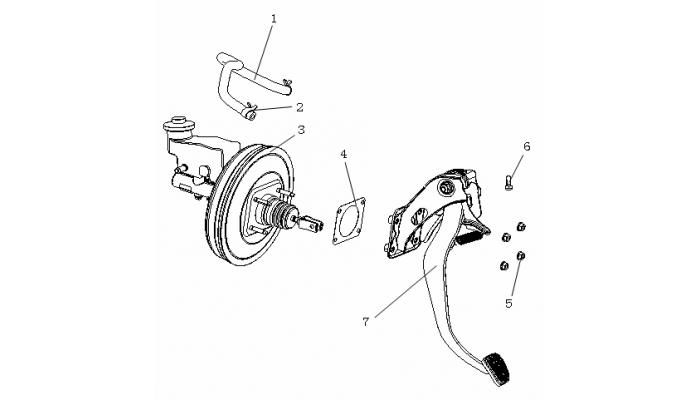 Педаль тормоза и главный тормозной цилиндр Geely MK
