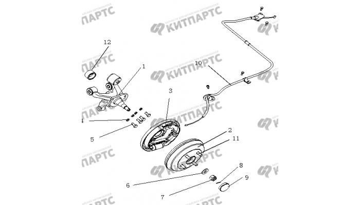 Тормоз задний левый (Барабанный, с ABS) Geely Otaka (CK)
